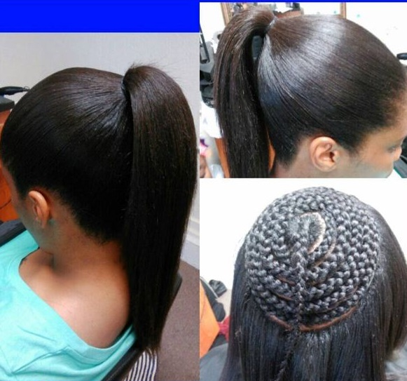 Sew In Braid Pattern Entrancing Middle Part Sewinit\'s All About The ...